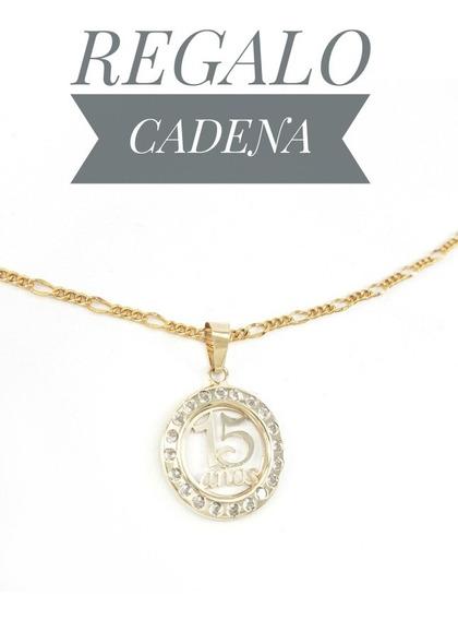 Hermosa Medalla 15años Oro 10k Y Cadena Tipo Cartier