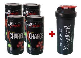 Kit 4x Pré Treino Monstro X - Charge 702g Nutriheal+ Shaker