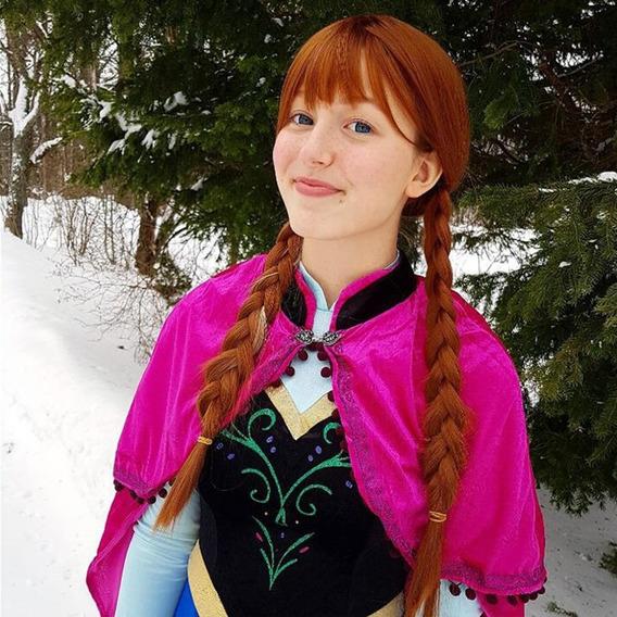 Peluca Anna Frozen Disney Princesa Anabel Fibra De Bamb An38