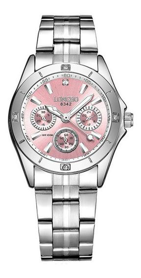 Reloj Mujer Rosa Longbo 8342 Acero Inoxidable Original 3atm