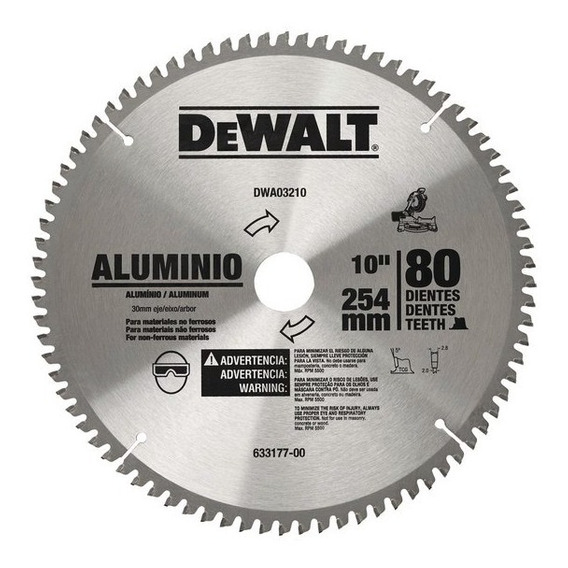 Disco De Serra 250mm 80d P/alumínio Dwa03210 Dewalt