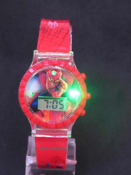 Relógio Infantil Homem Aranha Com Som Luzes 3d Original C327