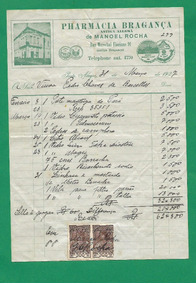 Farmacia Bragança1-recibo De 31 Março De 1927.c/ Selo Fiscal
