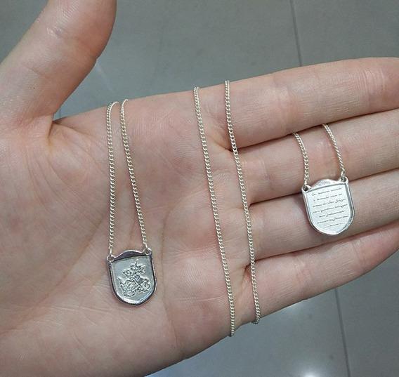 Escapulário Escudo São Jorge Oração Prata 925 Italiana