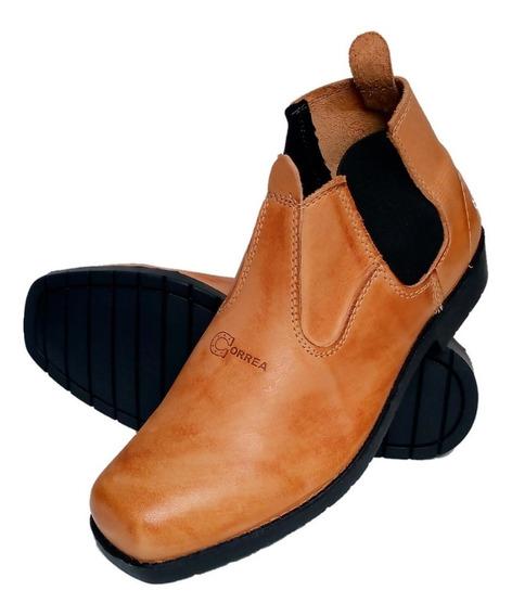 Bota,botina,sapatão,couro Preto Sola De Pneu Trabalho Roça