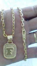 Cordao E Pingente Cadeado 4 Mm Banhado Ouro 18 K + 2 Brindes