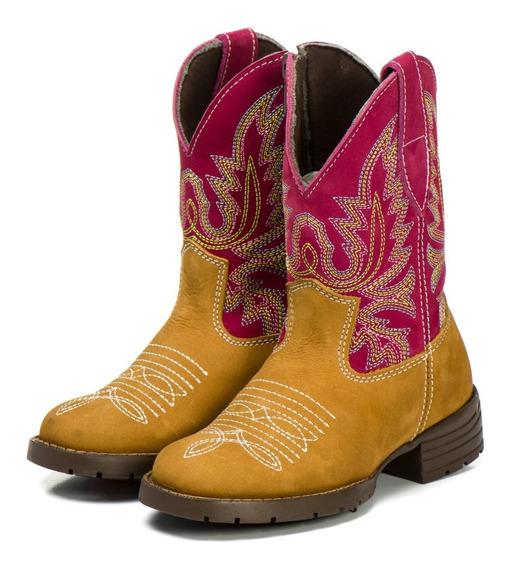 Bota Infantil Country Texana Caram./rosa - Couro - Feminina