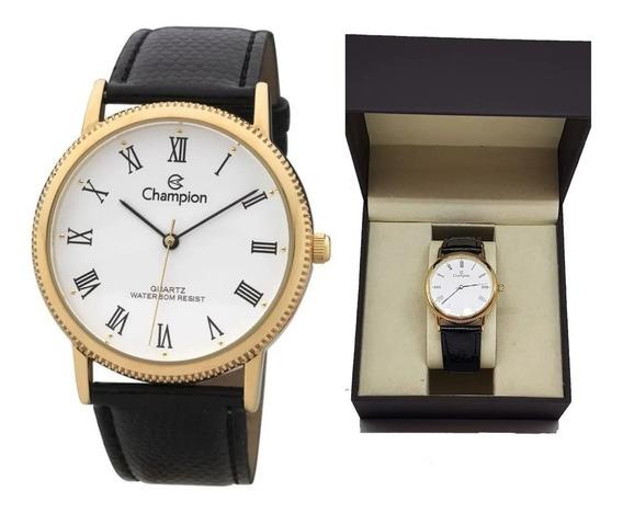 Promoção Relógio Champion Dourado Social De Couro+frete