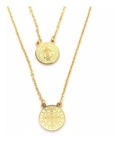 Colar Escapulário Inox Dourado Ordem São Bento Frete Barato