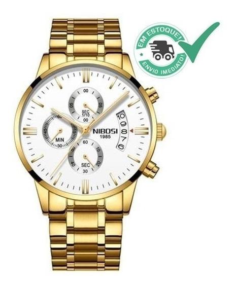 Relógio Nibosi Original Dourado A Pronta Entrega