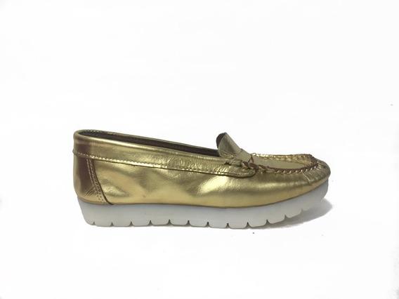 Zapato Lucerna Mocasin Cuero Oro