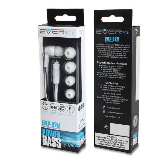 Fone De Ouvido Light Com Microfone Evertech Evep-02/wt Branc