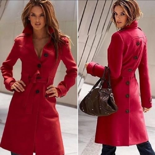 Abrigo Formal Largo Rojo Botones Trasero Moda Asiática