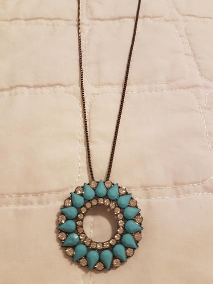 Colar Gargantilha Feminino Com Pingente Mandala Azul Moda