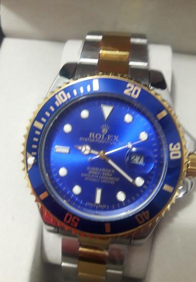 Relógio Masculino Submariner Azul Misto + 3 Bat + Ft Grátis
