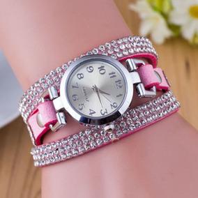 Relógio Com Pulseira Com Brilhantes Rosa-feminino-promoção