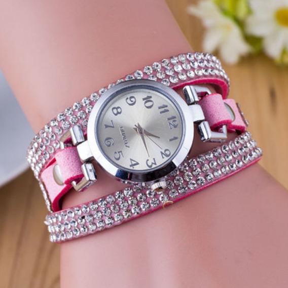 B) Relógio Com Pulseira Com Brilhantes Rosa-feminino-promoção