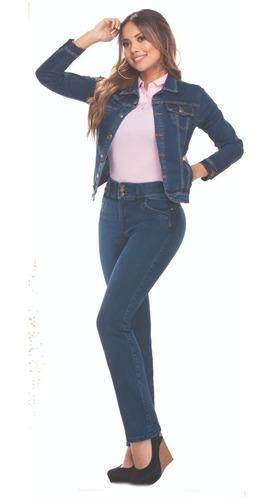 Imagen 1 de 2 de Jean Plus Size Gran Jeans Tiro Alto Bota Recta