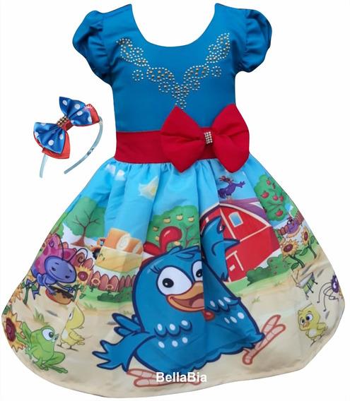 Vestido Galinha Pintadinha Azul + Tiara