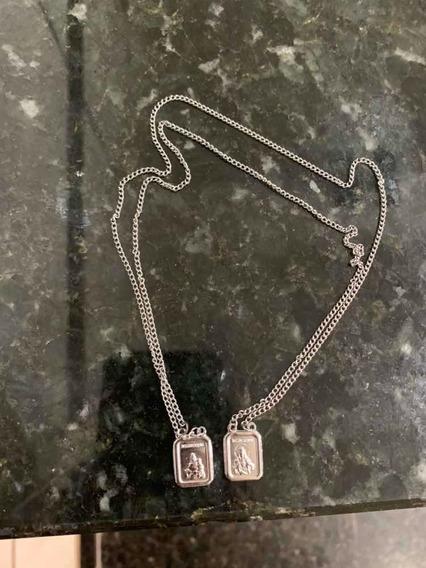 Escapulário De Prata Com Medalha Nossa Senhora Do Carmo