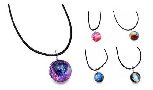 Collar Galaxia Nebulosa Cristal Unisex Masculino Y Femenino