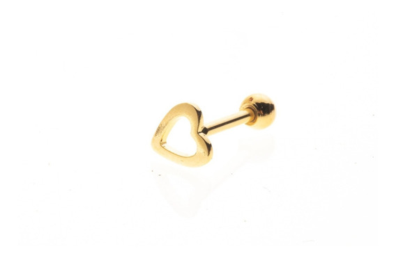 Piercing Tragus Helix Coração Vazado Banho A Ouro 18k