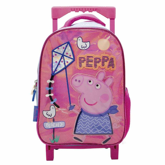 Mochila Peppa Pig 12 Pulgadas Con Carro Pp060 Original!!