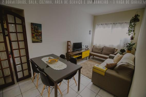 Apartamento Com 02 Dormitórios Em São Vicente - 1km Da Praia