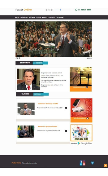 Site Para Pastor Ou Igreja Com Painel Admin