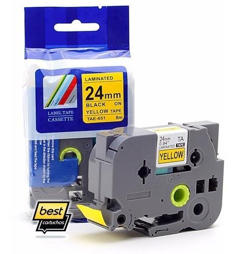 Fita Compatível Rotulador Brother Tze 651 Amarela 24mm