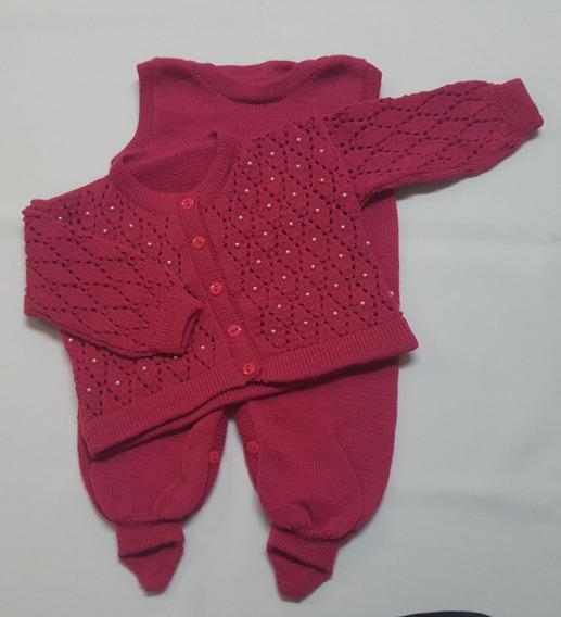 Conjunto Bebê Tricot Ponto Aberto Bordado Perolas Rosa Pink