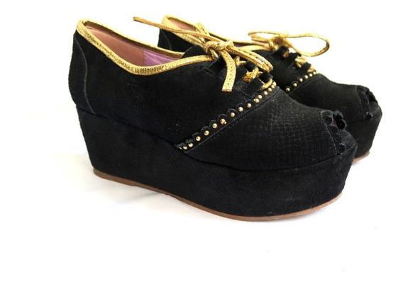 Zapatos Sibyl Vane Plataforma Gamuza Y Vivo Dorado N° 36