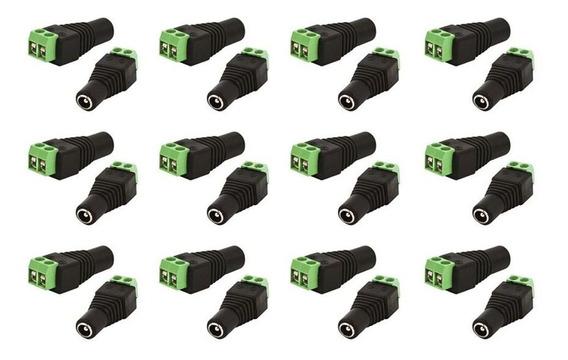 Kit Com 10 Conectores P4 Com Borne Femea Cftv Segurança