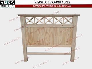 Respaldo De Sommier Cruz Reforzado Pino Roka