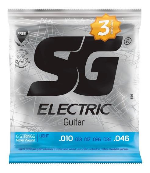 3 Encordoamentos Guitarra 010 Sg Jogo De Cordas Niquel C/ Nf