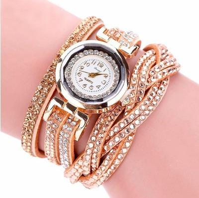 Relógio De Luxo Moda Feminina Quartzo Revestido De Strass