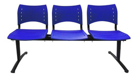 Cadeira Longarina 3 Lugares Azul Evidence Executiva