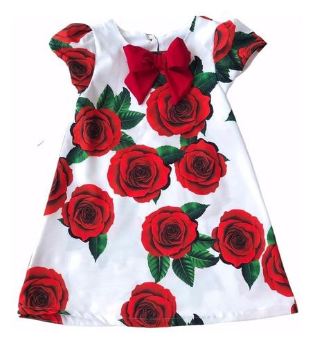 Imagem 1 de 7 de Vestido Infantil Natal Trapézio Florido Vermelho