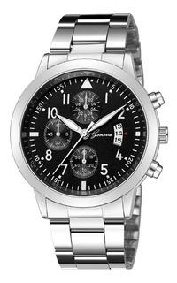 Relógio Luxo Masculino Geneva Pulso Social Pulseira Prateada