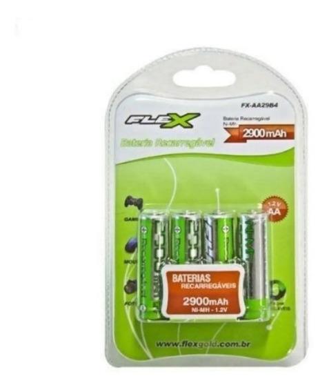 Pilhas Flex Aa Recaregavel 2900mah- Pack 4 Unidades