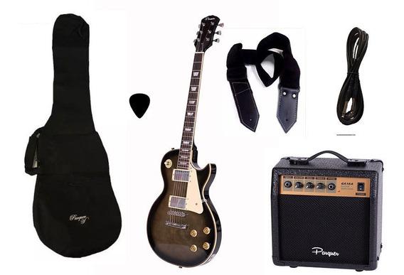 Combo Guitarra Electrica Parquer Lp Negra 3 Amplif 10w Cuota