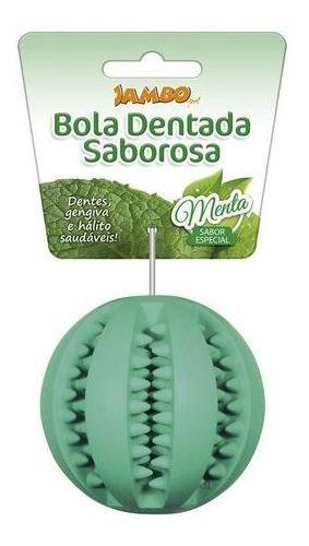 Imagem 1 de 7 de Brinquedo Para Cachorro Bola Dentada Sabor Menta Tam Grande
