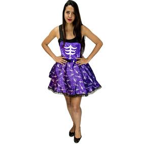 Roupa De Halloween Feminina Jardineira Esqueleto + Brinde