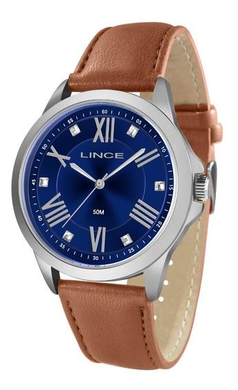 Relógio Lince Feminino Lrcj082l D3mx Azul Couro Marrom