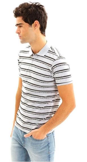 Camisa Polo A Rayas Para Hombre Hang Ten Gris
