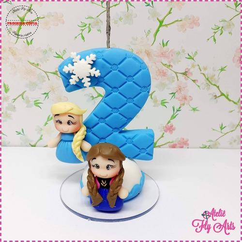 Vela Aniversario Em Biscuit, Vela Personagens Frozen