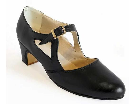 Zapatos Folklore, Español, Jazz, Tango, Danza En Cuero Negro
