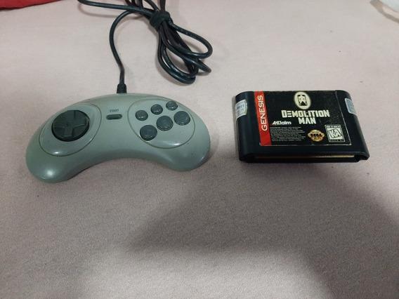 Controle Mega Drive Mais Demolition Man Ambos Originais.
