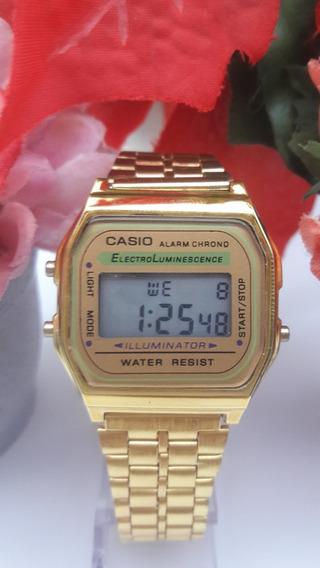 Relógios Feminino Casio Digital Aço Prata Dourado Rosa