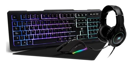 Kit Gamer Teclado Mouse Diadema Tapete Vorago 4 En 1 Kmh-501